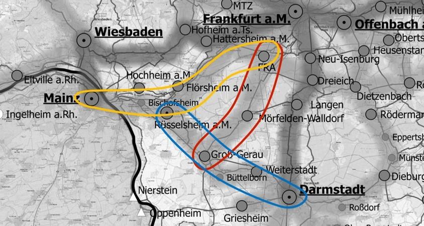 Übersicht der zu untersuchenden Korridore im Kreis Groß-Gerau [Eigene Darstellung] Hintergrund: BKG (2019)