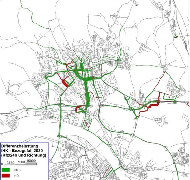 Verkehrsmodell Wiesbaden, Differenzbelastung IHK - Bezugsfall 2030eigene Darstellung